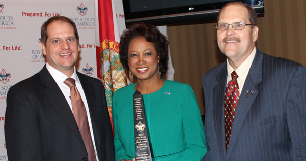 Jennifer receives Boys Scouts of America 12 Point Award for service to youth and community