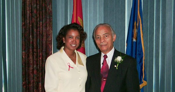 Jennifer and Lieutenant Colonel Carter<p>Jennifer pays honor to Lieutenant Colonel Herbert E. Carter (USA Ret). Colonel Carter was a member of the original 33 members of the Tuskegee Airmen. Colonel Carter flew 67 missions with the Tuskegee Airmen during World War II.  Jennifer recognized the Colonel for his bravery, patriotism and for paving the way for many Blacks in the military.</p>