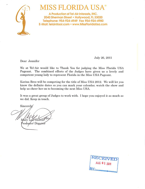 Ms. Florida USA thank you letter to Jennifer