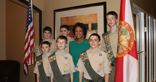 Jennifer with the and Boy Scouts