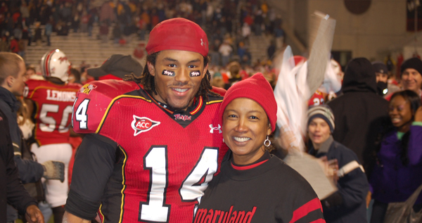 Football mom Jennifer and son Nolan at a University of Maryland football game