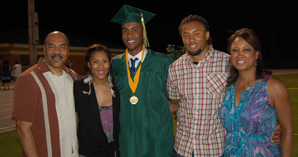 Jennifer  and family at son Necho's high school graduation