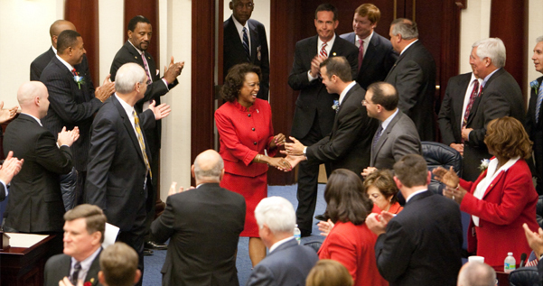 Jennifer gets greetings as she enters the Florida House of Representatives