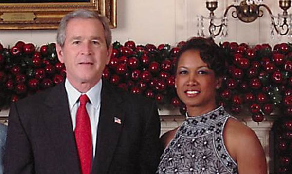 Jennifer and President George W. Bush celebrate the Christmas holiday